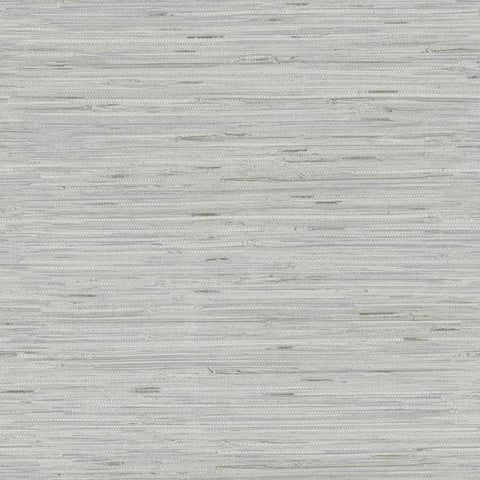 Lustrous Faux Grasscloth Wallpaper in Silver by York Wallcoverings