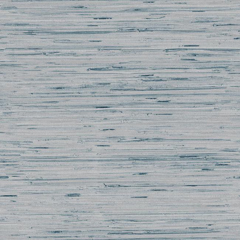 Lustrous Faux Grasscloth Wallpaper in Soft Blue and Metallic by York Wallcoverings