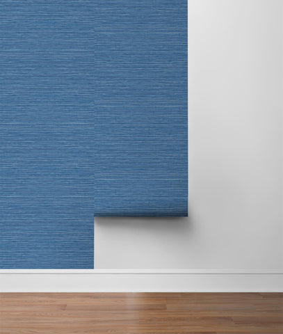 Luxe Sisal Peel-and-Stick Wallpaper in Coastal Blue from the Luxe Haven Collection by Lillian August