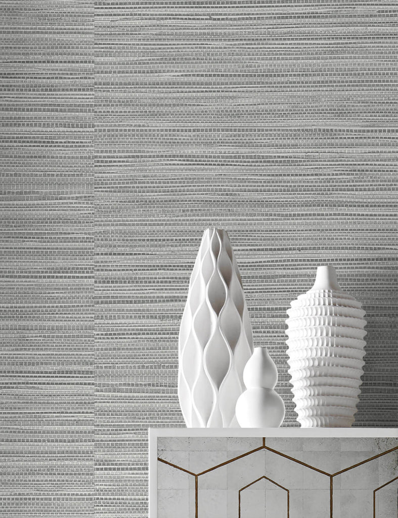 Luxe Sisal Peel-and-Stick Wallpaper in Harbor Mist from the Luxe Haven Collection by Lillian August