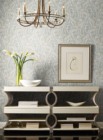 Lyrical Paisley Wallpaper in Blue and White design by Candice Olson for York Wallcoverings