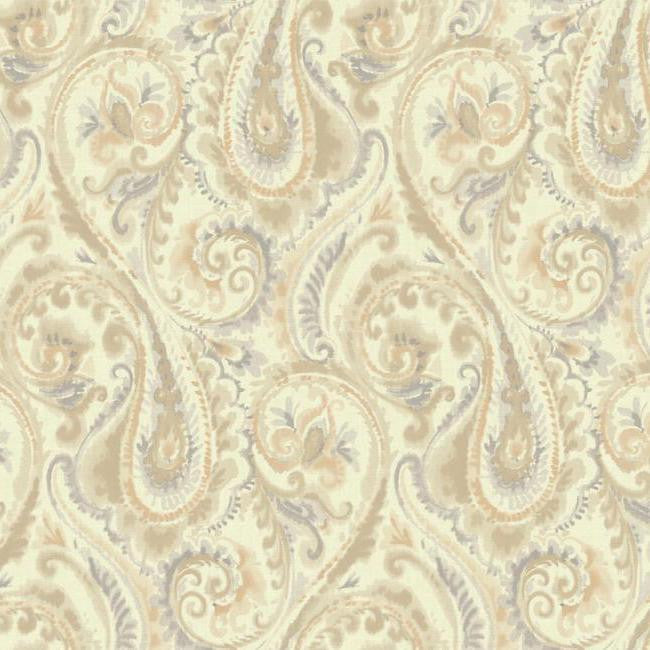 Sample Lyrical Paisley Wallpaper in Blue and Gold design by Candice Olson for York Wallcoverings