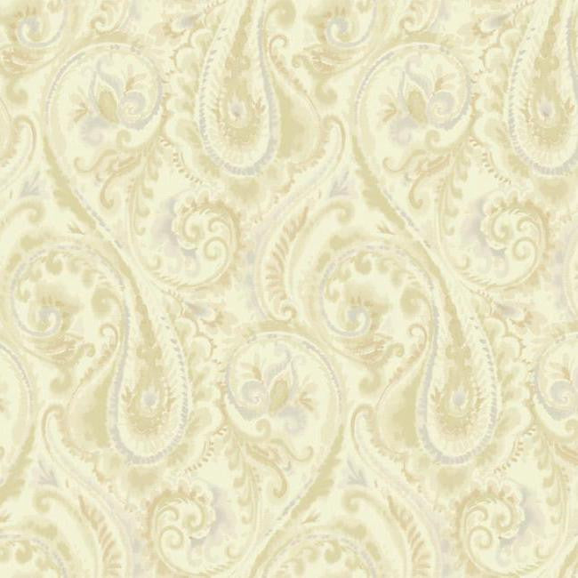 Sample Lyrical Paisley Wallpaper in Gold and Beige design by Candice Olson for York Wallcoverings