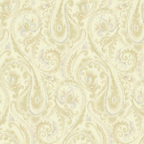 Lyrical Paisley Wallpaper in Gold and Beige design by Candice Olson for York Wallcoverings