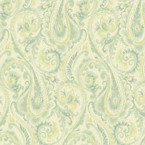 Lyrical Paisley Wallpaper in Seafoam Green design by Candice Olson for York Wallcoverings
