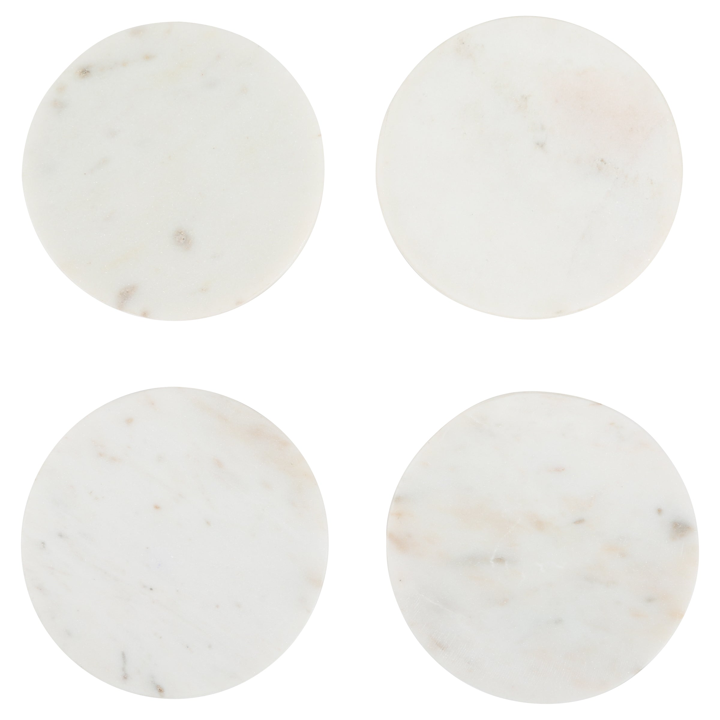 Set of 4 Marble Coasters in White design by Sir/Madam