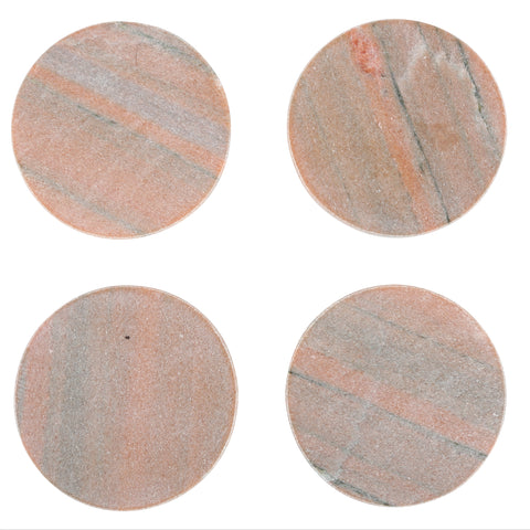 Set of 4 Marble Coasters in Pink design by Sir/Madam