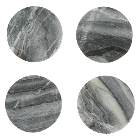 Set of 4 Marble Coasters in Grey design by Sir/Madam