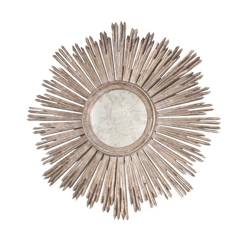 Margeaux Handcarved Silver Leaf Starburst Mirror design by BD Studio