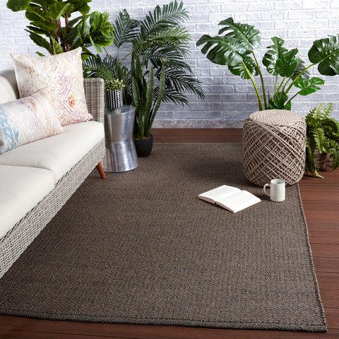 Ryker Indoor/Outdoor Solid Brown & Grey Rug by Jaipur Living