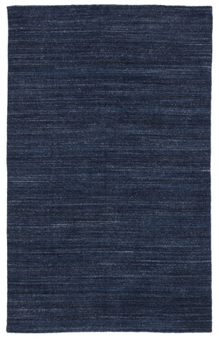 Vassa Handmade Solid Dark Blue Area Rug
