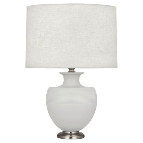 Michael Berman Atlas Matte Dove Table Lamp design by Robert Abbey