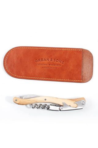 Orban & Sons Small Olivewood Corkscrew With Leather Pouch
