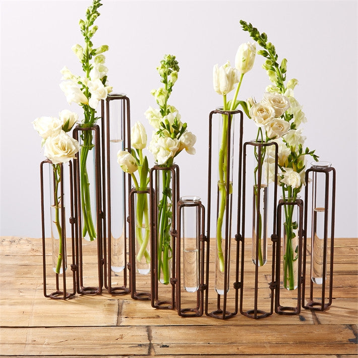 Set of 10 Rust Hinged Flower Vases design by Tozai