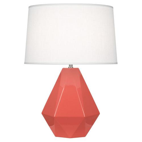 Delta Table Lamp (Multiple Colors) with Oyster Linen Shade by Robert Abbey