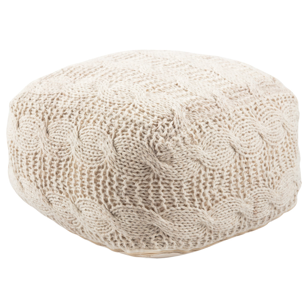 Sh-oslo Cream Textured Square Pouf