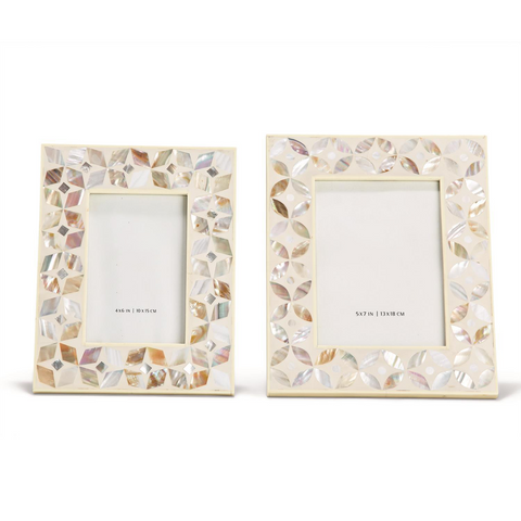 Flower Set of 2 White Inlay Mother Of Pearl Lacquered Photo Frames