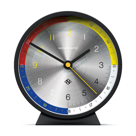 Mantel in Cave Black and Spun Aluminum Dial design by Newgate