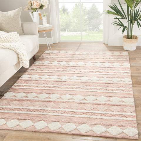 Elixir Geometric Rug in Misty Rose & Rose Smoke design by Nikki Chu for Jaipur