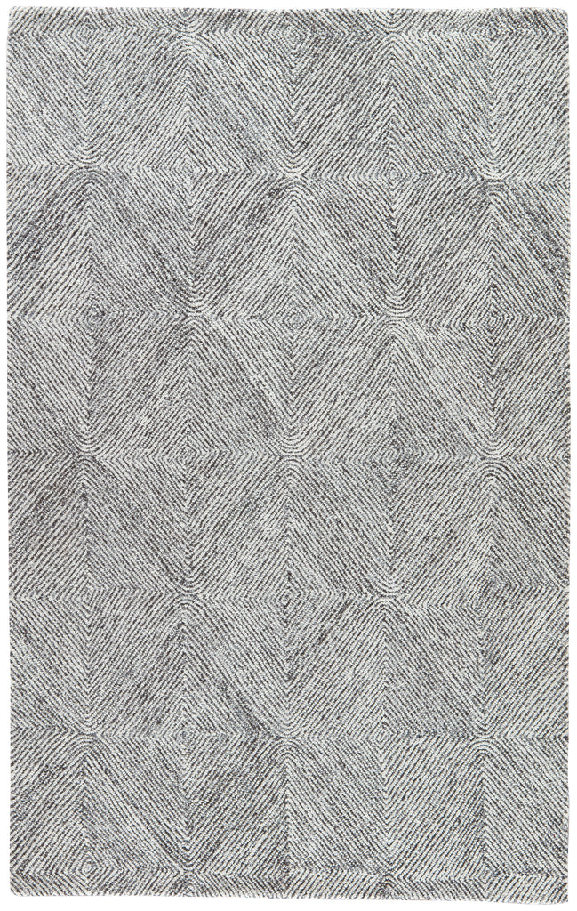 Exhibition Handmade Geometric White & Dark Gray Area Rug