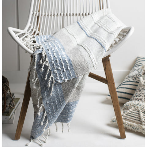 Manteo MNE-1000 Hand Woven Throw in Sea Foam & Medium Grey by Surya