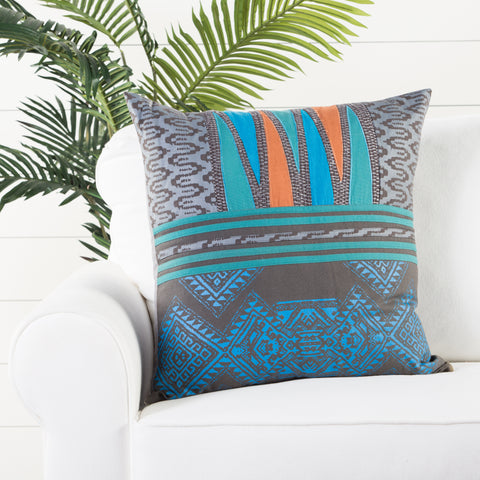 Mesa Gray & Aqua Geometric Throw Pillow