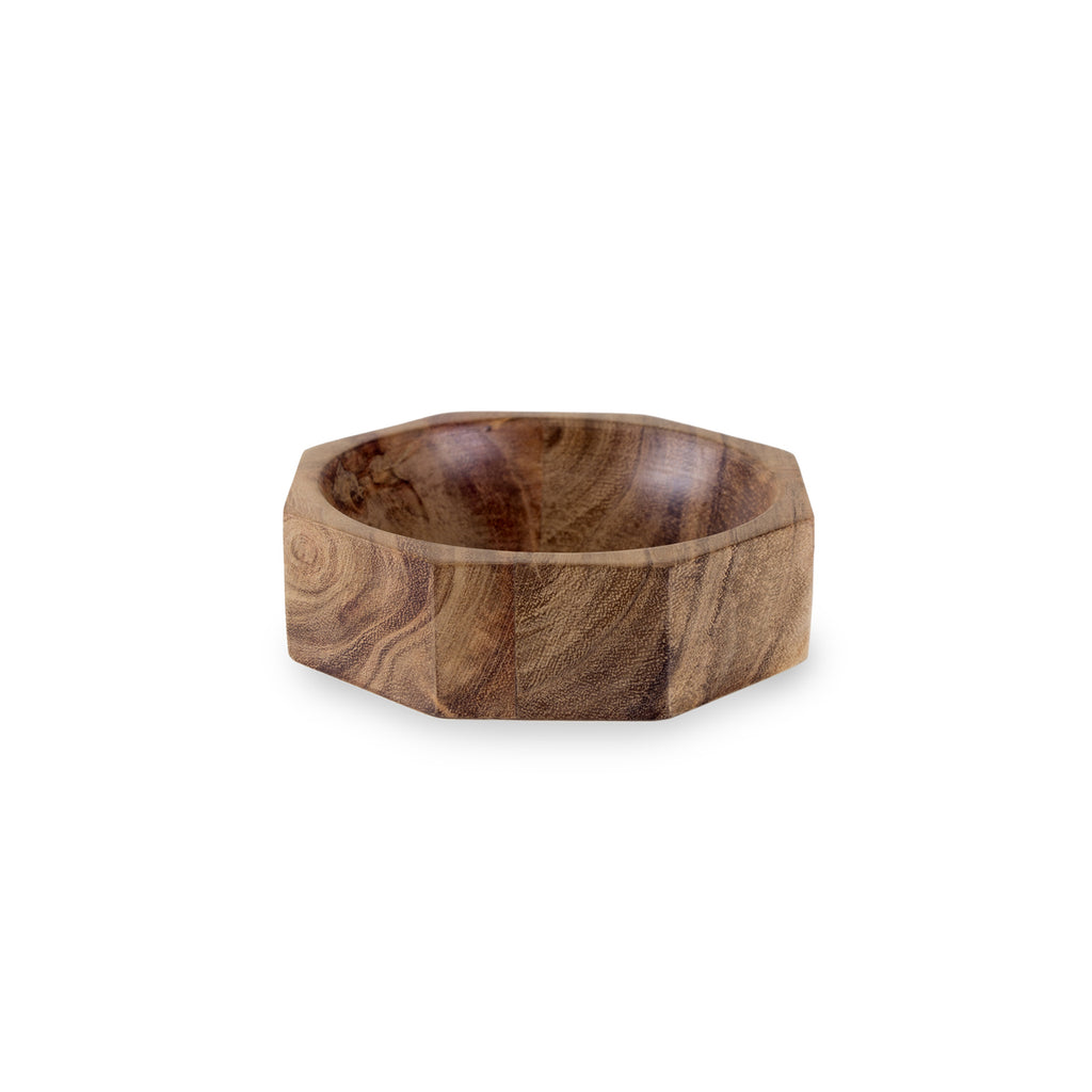 Acacia Wood Modernist Octagonal Bowl in Various Sizes design by Sir/Madam
