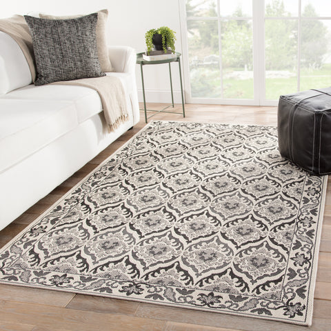 Laurel Indoor/ Outdoor Damask Dark Gray/ Cream Rug design by Jaipur