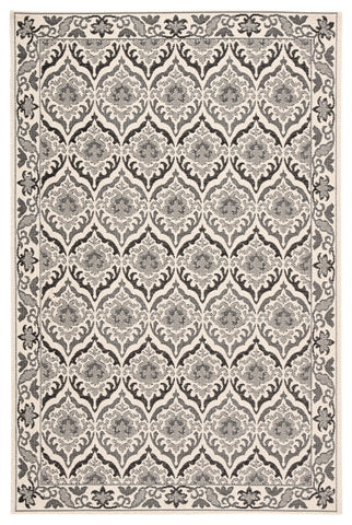 Laurel Indoor/ Outdoor Damask Dark Gray & Cream Area Rug
