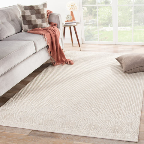 Belvidere Indoor/ Outdoor Borders Beige/ Cream Rug design by Jaipur