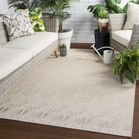 Belvidere Indoor/ Outdoor Borders Beige & Cream Area Rug