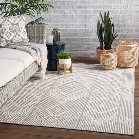 Shiloh Indoor/ Outdoor Tribal Gray & Cream Area Rug