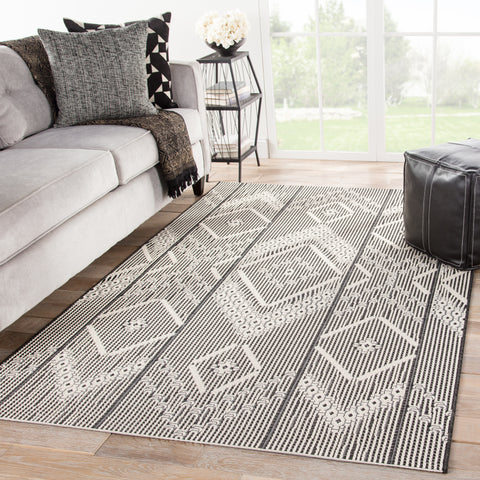 Shiloh Indoor/ Outdoor Tribal Dark Gray/ Cream Rug design by Jaipur