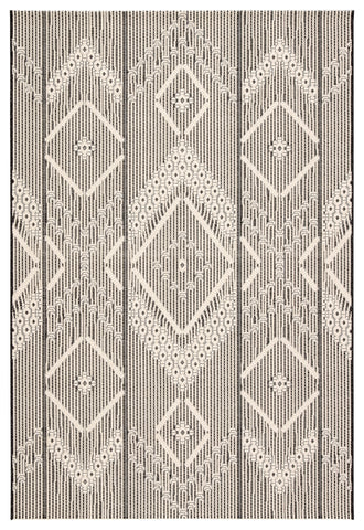 Shiloh Indoor/ Outdoor Tribal Dark Gray & Cream Area Rug
