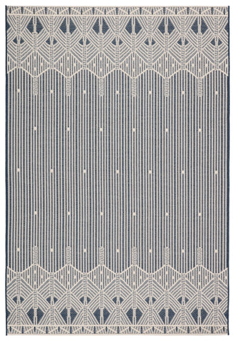 Belvidere Indoor/ Outdoor Geometric Dark Blue/ Cream Rug by Jaipur Living