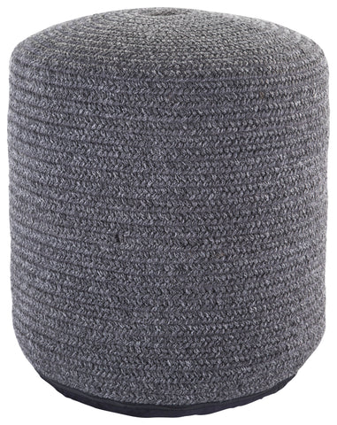 Bridgehampton Solid Dark Gray Indoor/ Outdoor Pouf