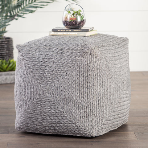Bridgehampton Solid Light Gray Indoor/ Outdoor Pouf
