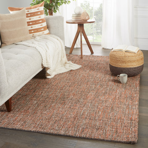 Sutton Handmade Solid Rug in Orange & Brown