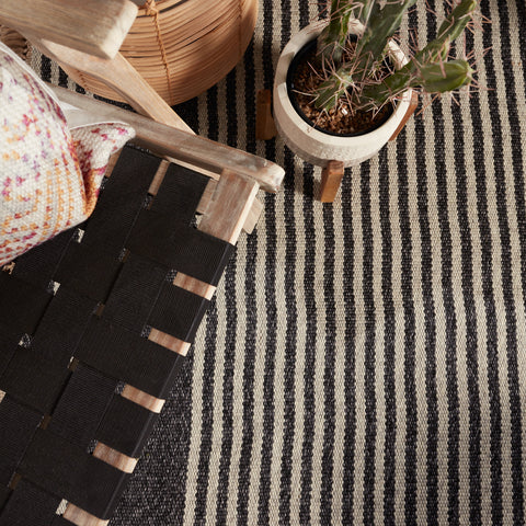 Strand Indoor/Outdoor Striped Dark Grey & Beige Rug by Jaipur Living