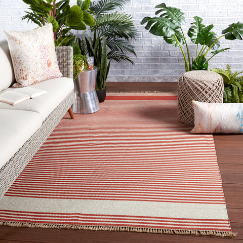 Strand Indoor/Outdoor Striped Rust & Beige Rug by Jaipur Living