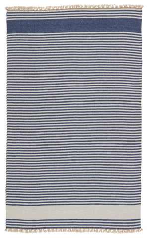 Strand Indoor/Outdoor Striped Blue & Beige Rug by Jaipur Living