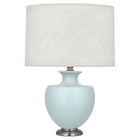 Michael Berman Atlas Matte Sky Blue Table Lamp design by Robert Abbey