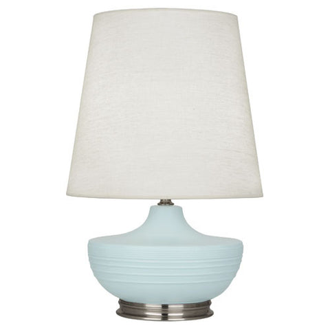 Michael Berman Nolan Matte Sky Blue Table Lamp design by Robert Abbey