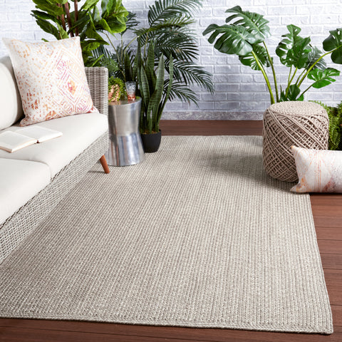 Dumont Indoor/Outdoor Solid Light Grey Rug by Jaipur Living