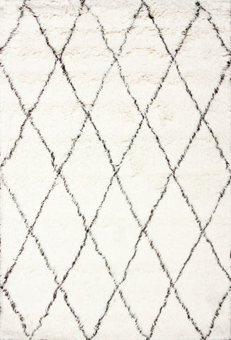 Hand Made Marrakech Shag Rug in Ivory design by Nuloom