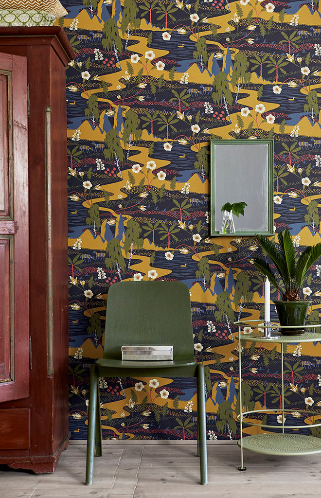 Magisk Navy Oasis Wallpaper from the Wonderland Collection by Brewster Home Fashions