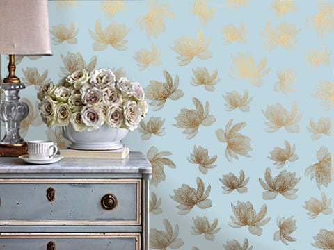 Magnolia Wallpaper in Dark Grey on Gold by Tommassini Walls