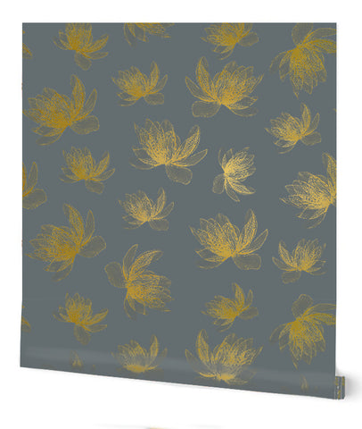 Magnolia Wallpaper in Light Grey on Gold by Tommassini Walls
