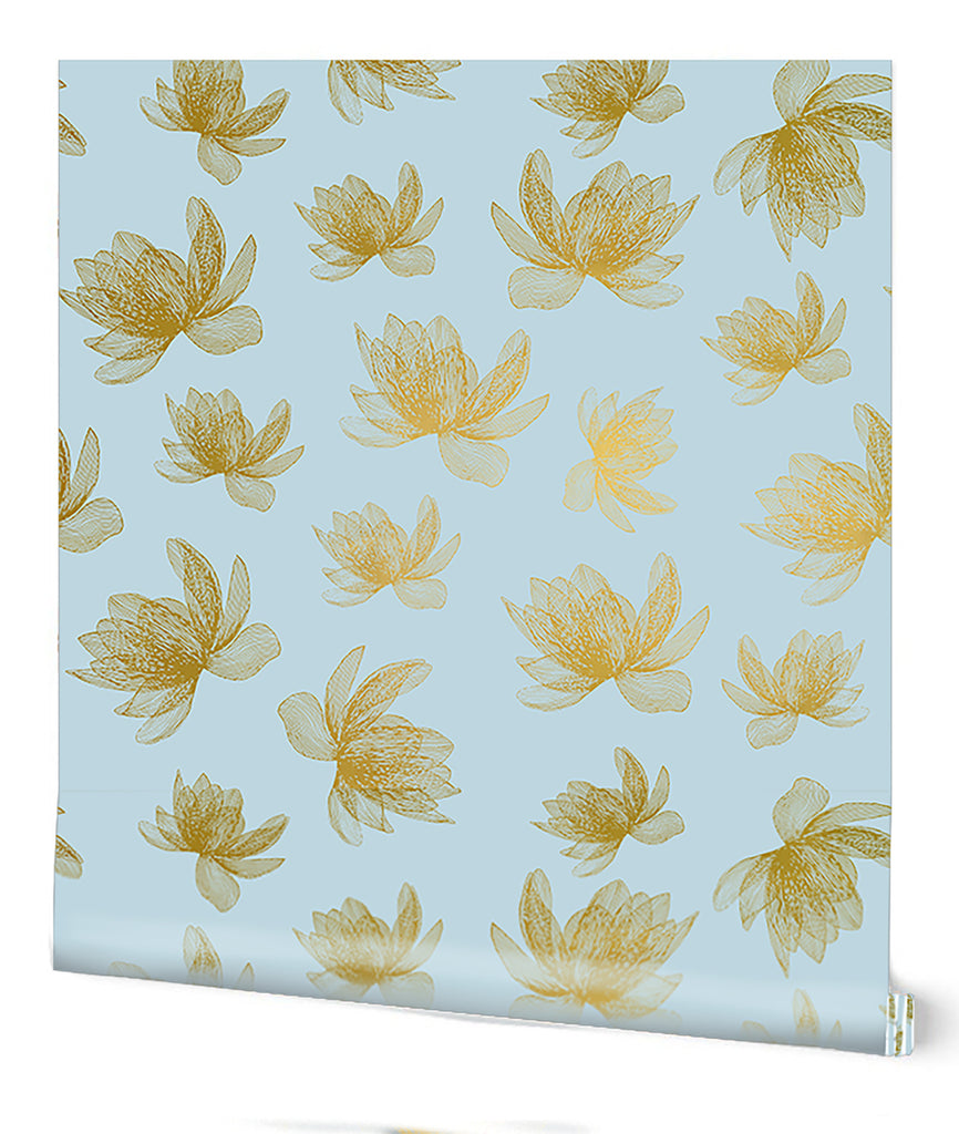 Magnolia Wallpaper in Teal on Gold by Tommassini Walls