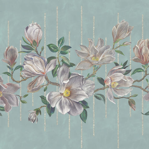 Magnolia Frieze Wall Mural in Aqua and Ochre from the Folium Collection by Osborne & Little